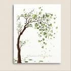 Green Tree Watercolor Art 8 x 10 Print, Love Birds, Tree Illustration, Modern Wall Decor, Circles, Polka Dots (168)