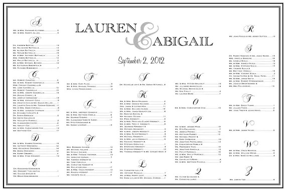Reception Wedding Seating Chart Template