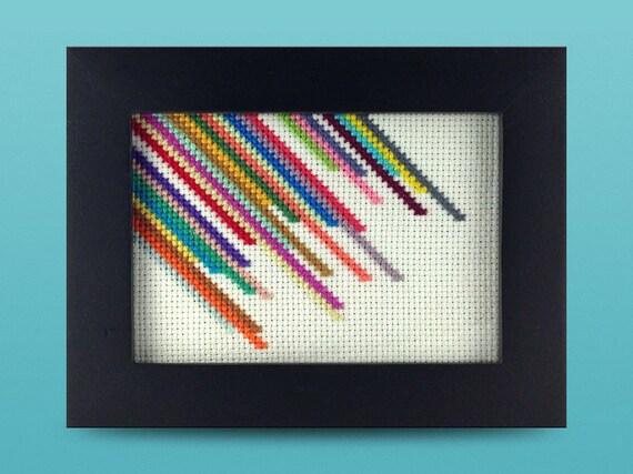 Framed Multicolor Diagonal Striped Cross Stitch