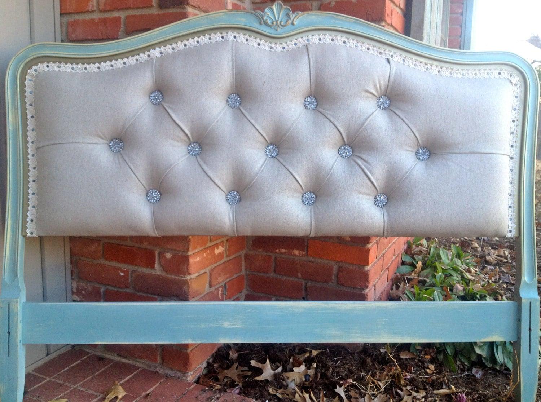 Vintage Upholstered Headboard Linen Turquoise Gold Rhinestone