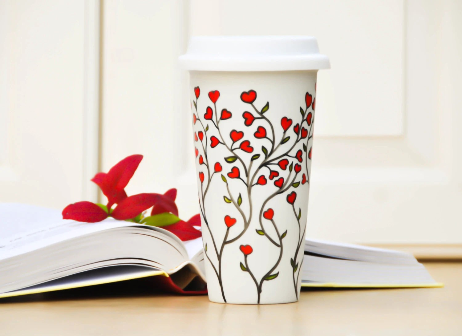 White Ceramic Travel Mug - Red hearts eco cup - To Go Mug with Lid - Hand Painted Insulated Tumber - Valentine's Day Gift - Love - PictureInADream