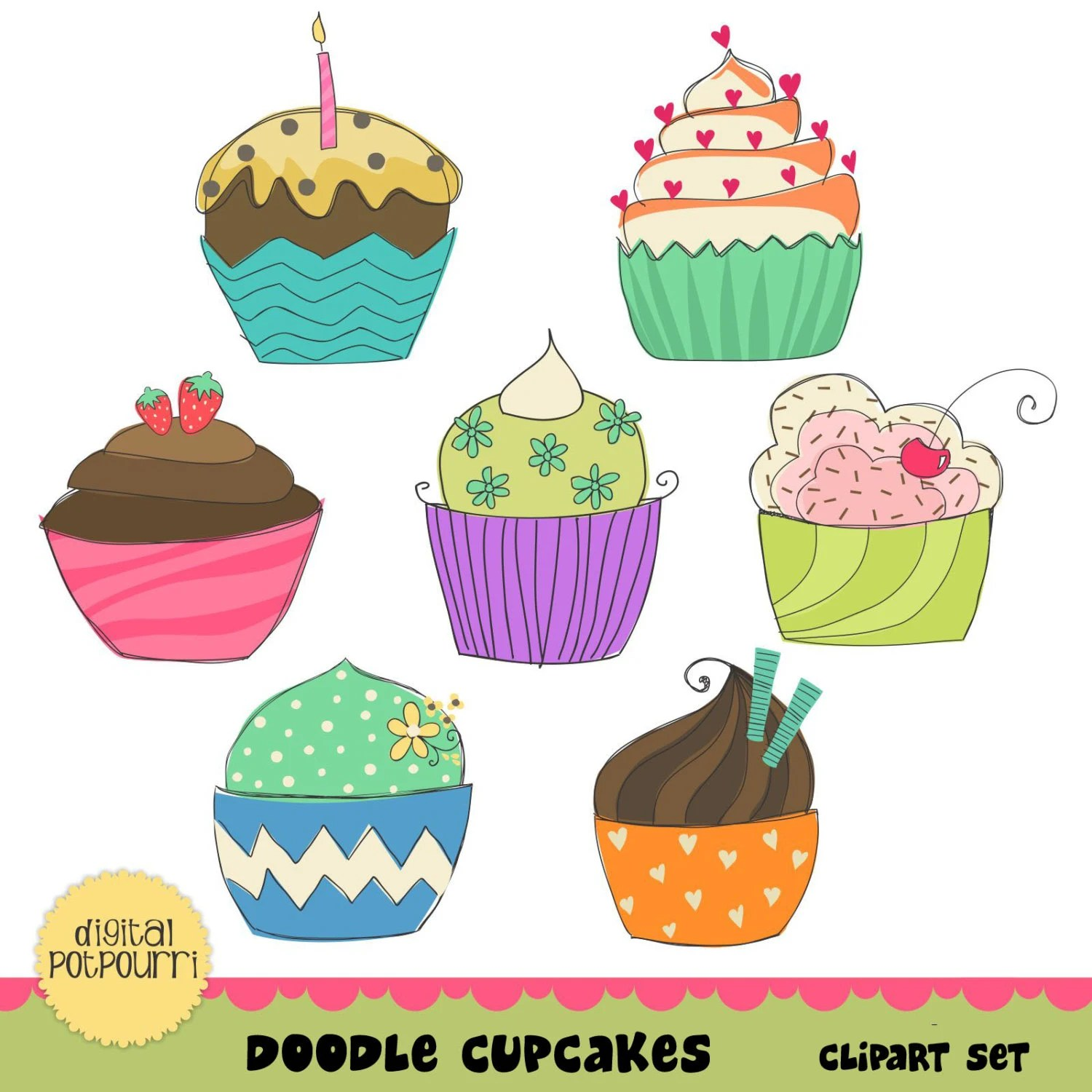 Buy2get1 Cupcakes Clipart Set Doodle Cupcakes By