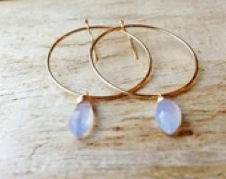 periwinkle chalcedony gold hoop earrings, 14 karat gold filled periwinkle purple lavender earrings