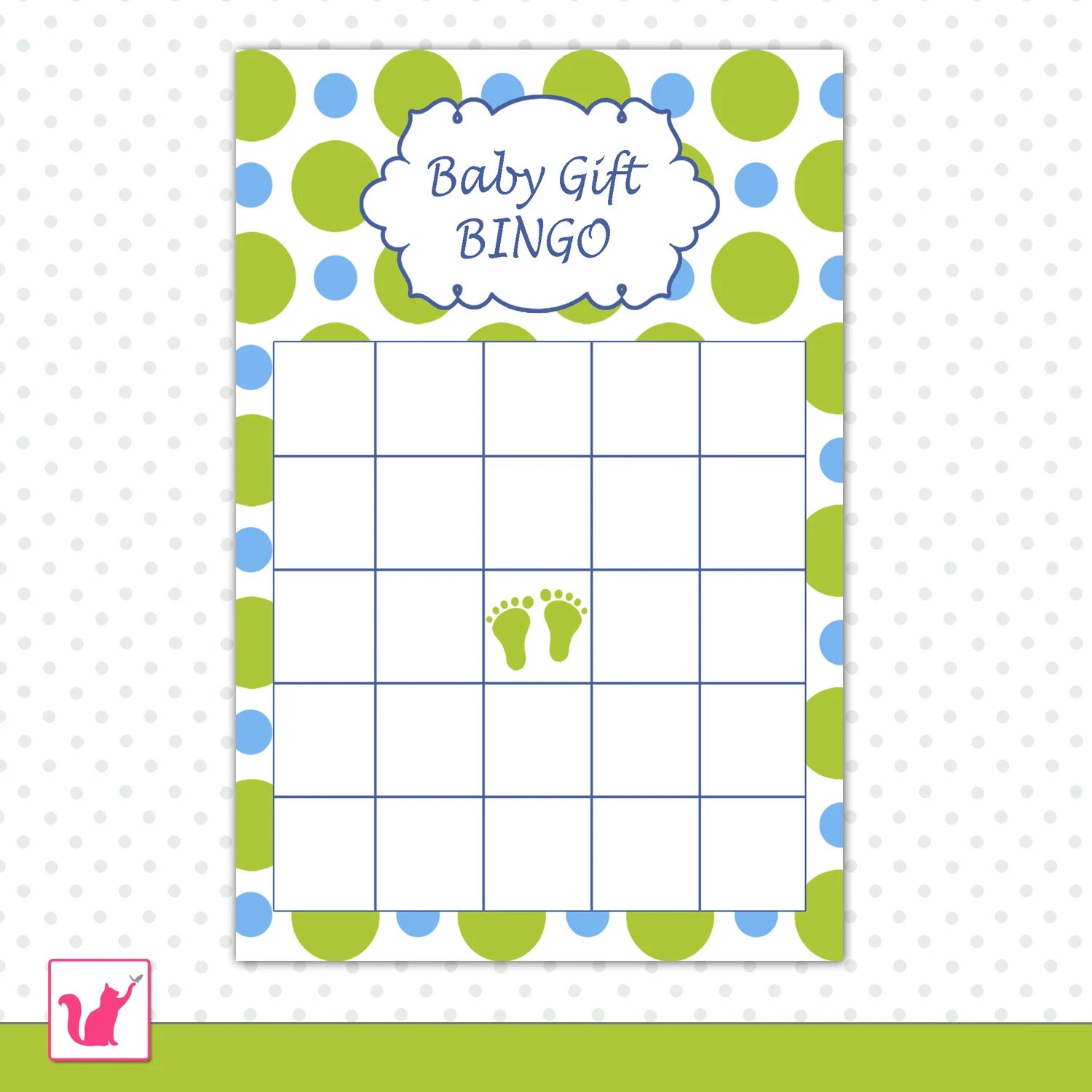 Baby Shower Bingo Card Blue Green Polka Dots Party Game