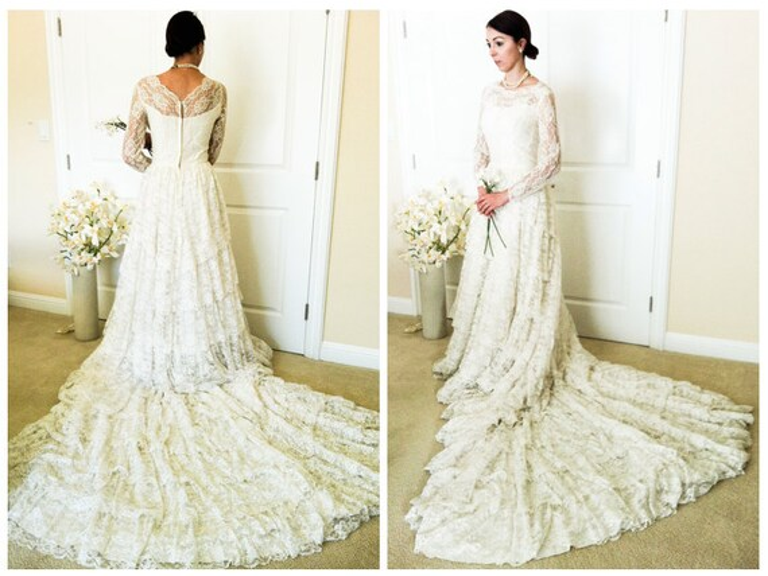 Vintage Lace Wedding Dress Mid Century Long Sleeve 1950s