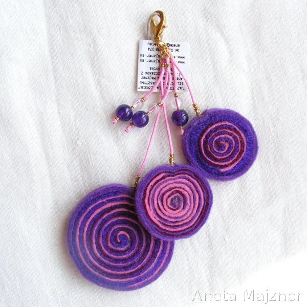 Purple and Pink hand made felted Keychain Charm Circles curly round felt rings felt amethyst crystal spring fashion young gift long boho - AnetaMajzner