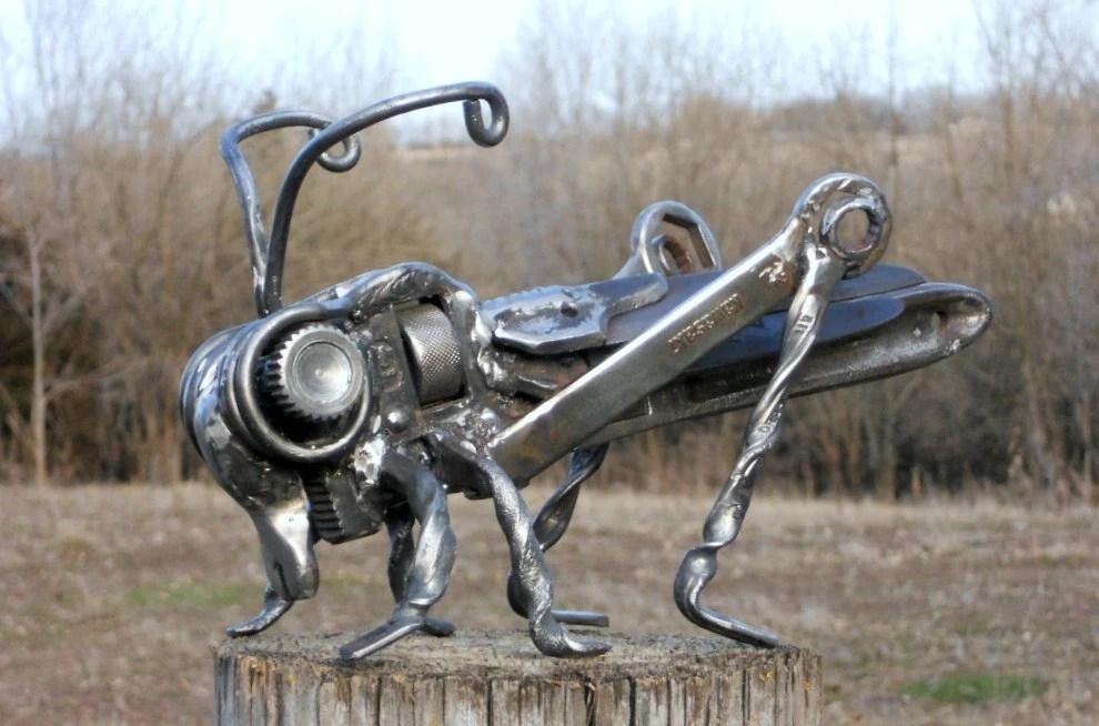 Grasshopper Metal Sculpture Insect Garden Art Yard Art Found on Backyard Metal Art id=43924