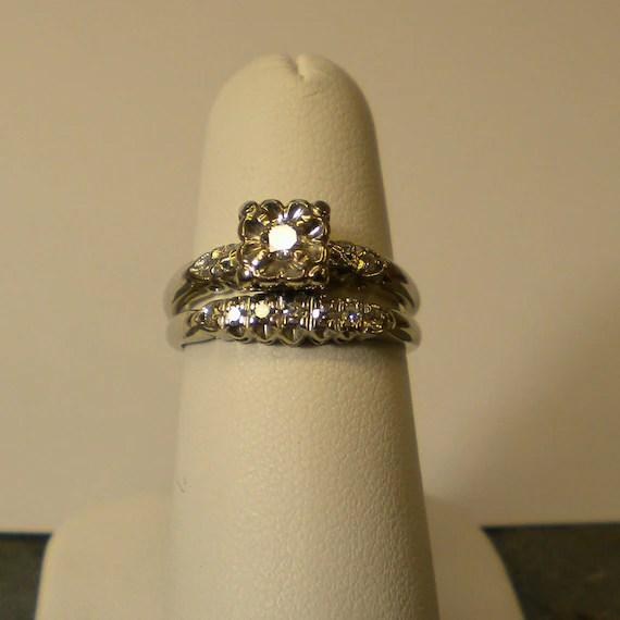 1950s 14K White Gold Diamond Wedding Band Set