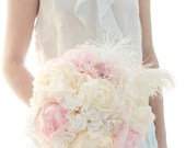 Hydrangea and Peony bouquet white paper hydrangea, cream and pink peony, soft white feathers wedding bouquet - AlternativeBlooms