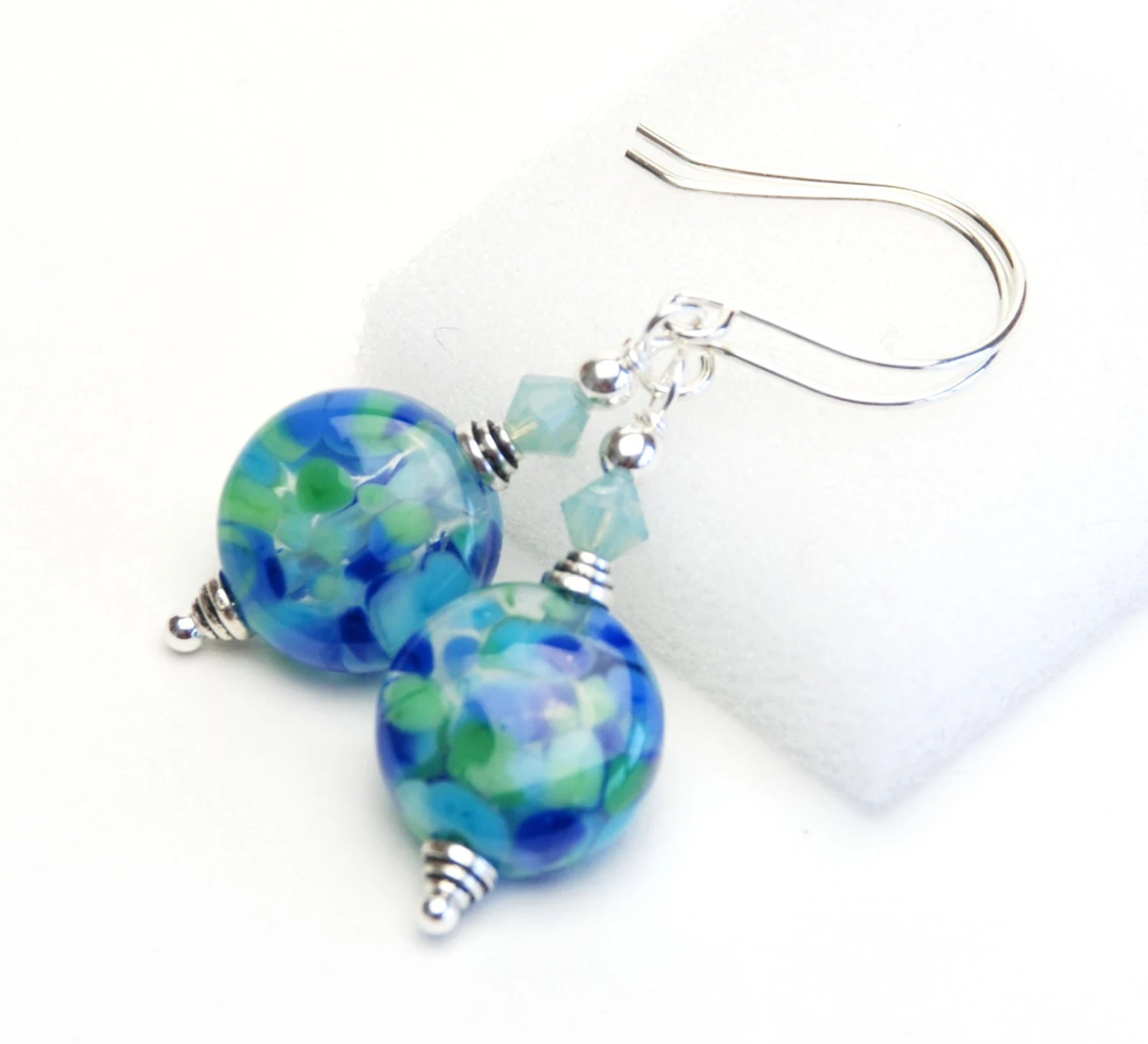 Lakeside Collection - Blue and Green Artisan Lampwork Glass and Sterling Silver Earrings - Handmade Jewelry - lilicharms
