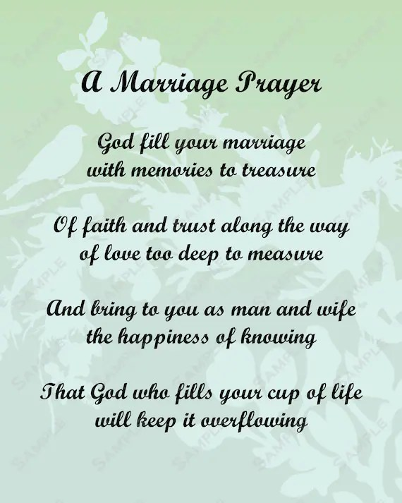 Items Similar To A Marriage Prayer Poem Love Poem For Bride Or Groom INSTANT DOWNLOAD On Sale