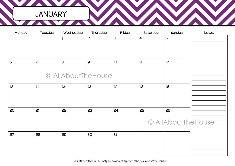 Printable Calendar Perpetual Calendar Chevron Calendar