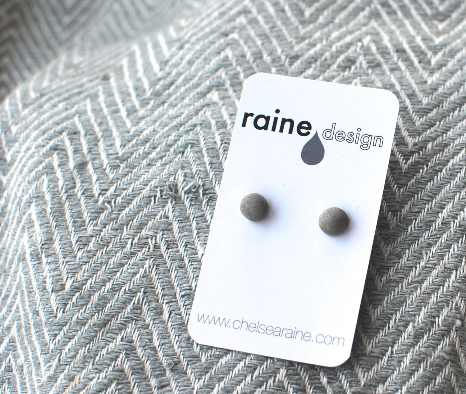 Little Concrete Dome Earrings: Everyday Elemental Modern Posts - RaineDesignConcrete