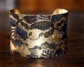 Sexy Black Lace covered Gold Cuff Bracelet  - Old Fashioned  Feels Regal on your wrist  New Years Eve Statement Piece - EcoLuxeCollection