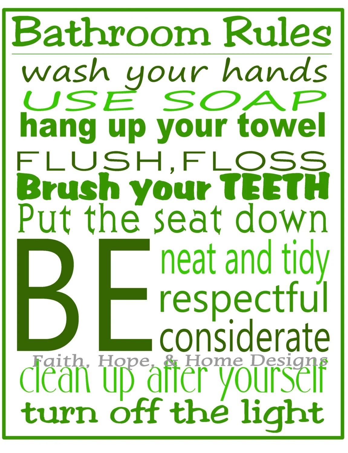 green bathroom rules wall art poster 8x10 digital art download