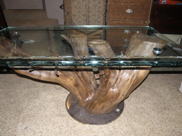 Custom hand-made natural wood table with spiral cut glass. 100% recycled or re-purposed. GO GREEN   On Sale Now