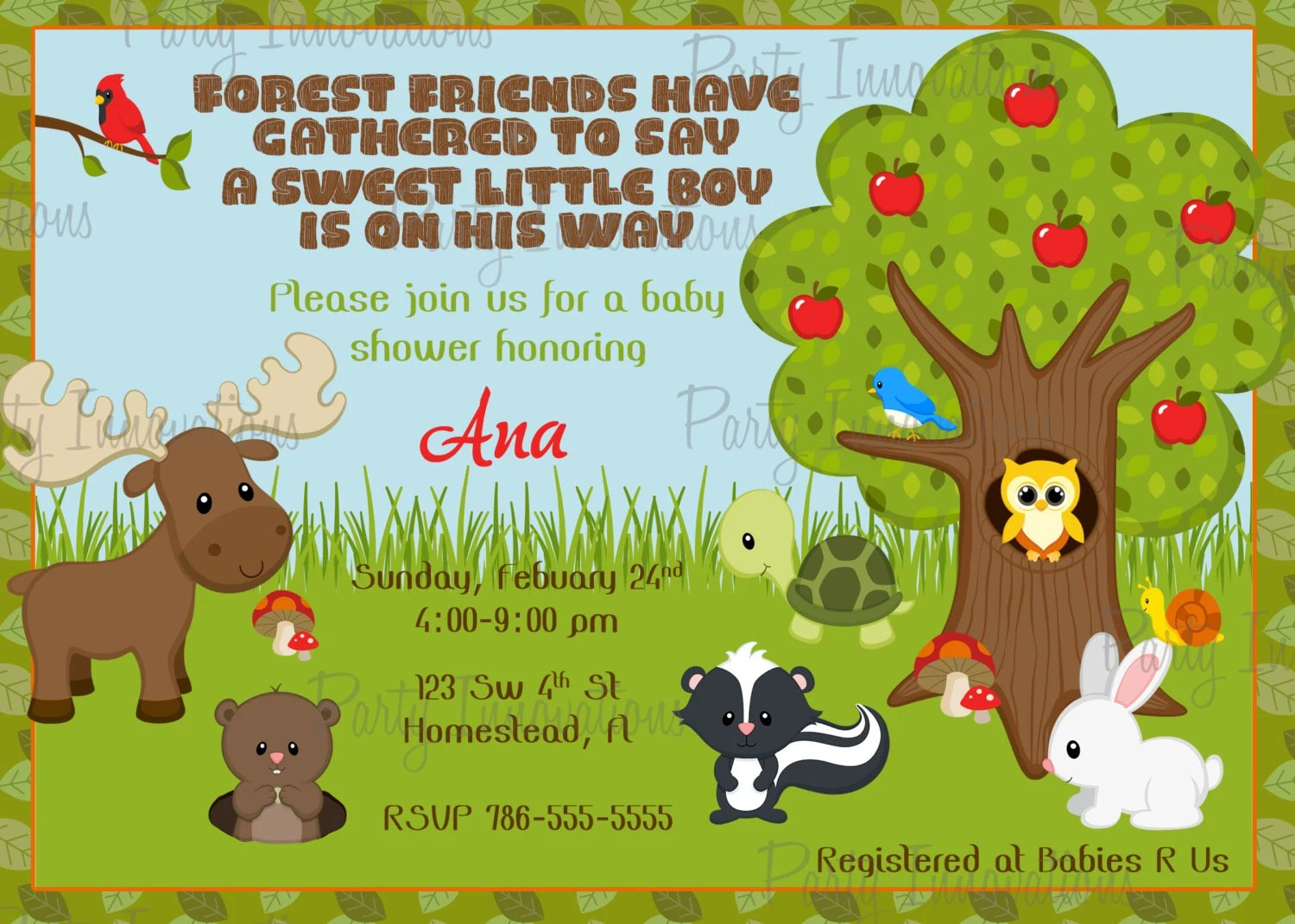 Printable Forest Animals Birthday Party Or Baby Shower