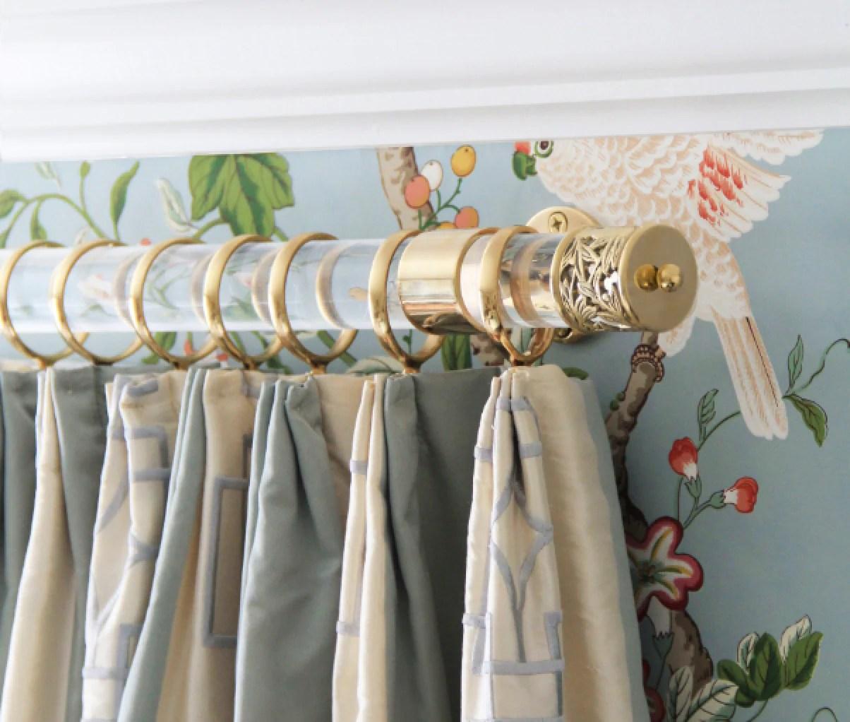 Custom Lucite Curtain Rod W Polished Brass Brackets Amp Lattice