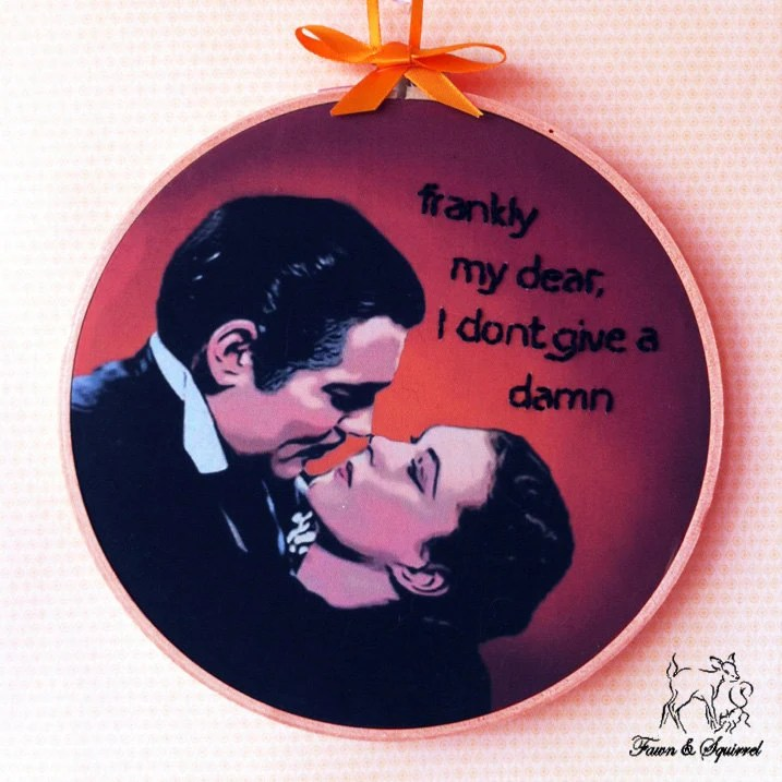 Gone With The Wind - Handmade Illustrated Embroidered Quote Hoop Fabric Decor Wall Art