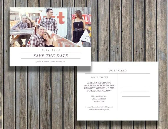 Save The Date Vintage Postcard Template 5x7 By
