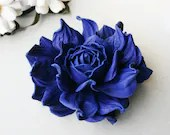 Cobalt Blue Leather Rose Flower Brooch - leasstudio