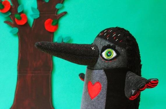 Kurtis the jackdaw, handmade black bird toy, including worm food