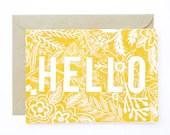 Linocut Hand Printed card - Hello - AmeliaHerbertson