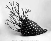 Resilient Heart - Black and Silver - Ceramic Sculpture Clay Mixed Media OOAK by Calan Ree - calanree