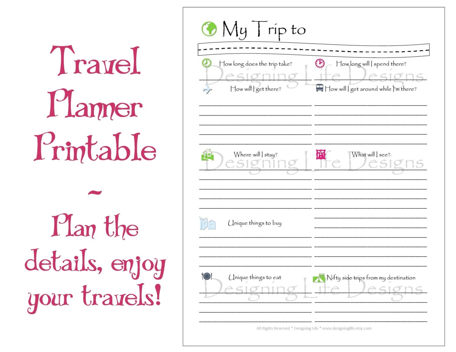Vacation Travel Planner Printable Sheets My Trip To