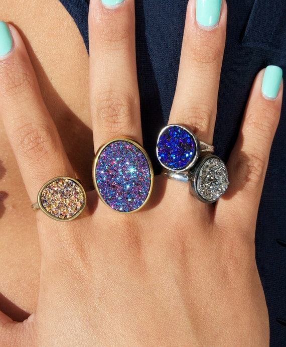 Items Similar To Drusy Quartz Ring In Blue Gold Silver