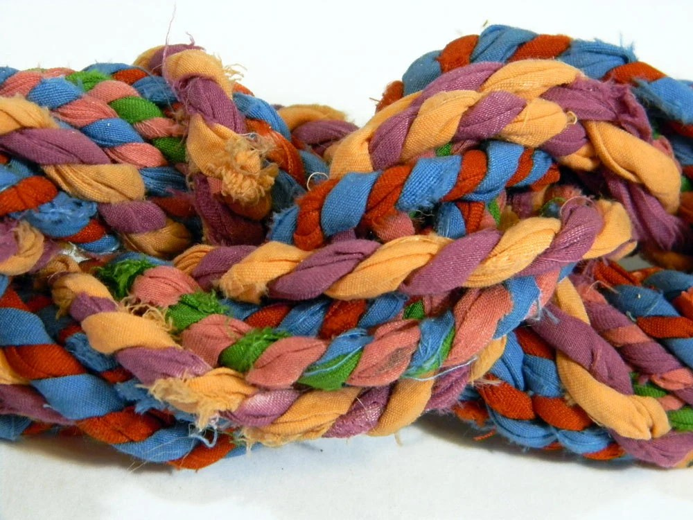 SariRope Skein 10 Yds  - Multicolored Recycled Sari Rope - Colorway Shown