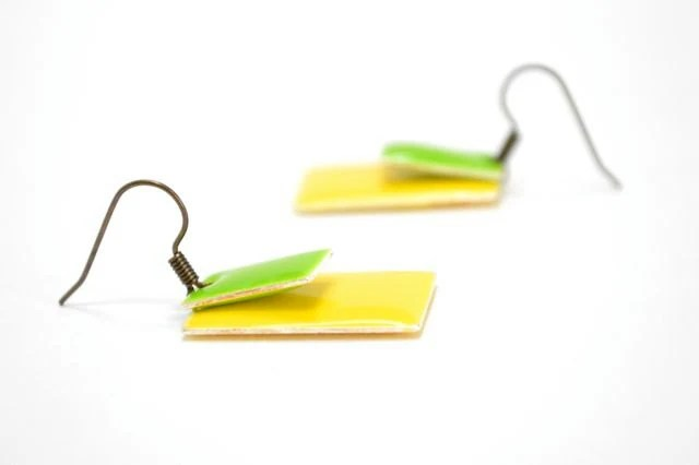 Big Neon Yellow Lime Green Earrings, Color Blocking, Chunky Rectangle Earrings Spring Fashion, Antiqued Brass, Bold Statement Earrings - CCARIA