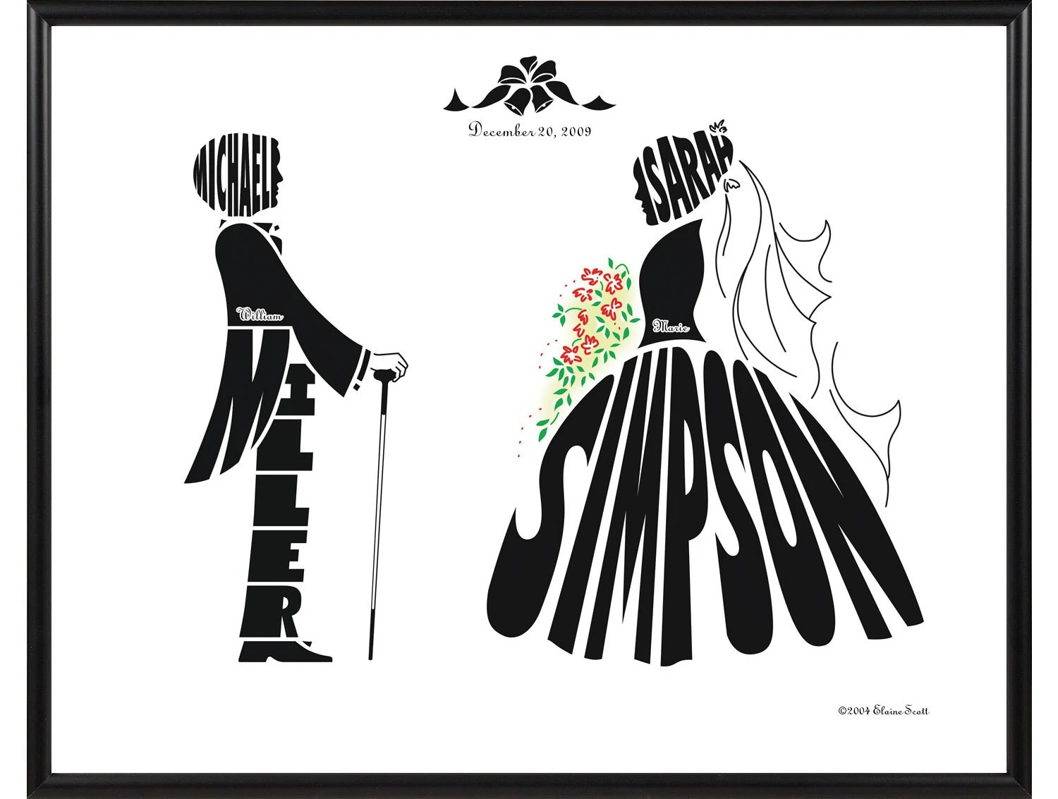 Personalized Wedding Silhouette Print Of Bride And Groom