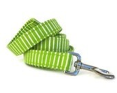 Striped Dog Leash - Lime Green and White - 6 Foot Length