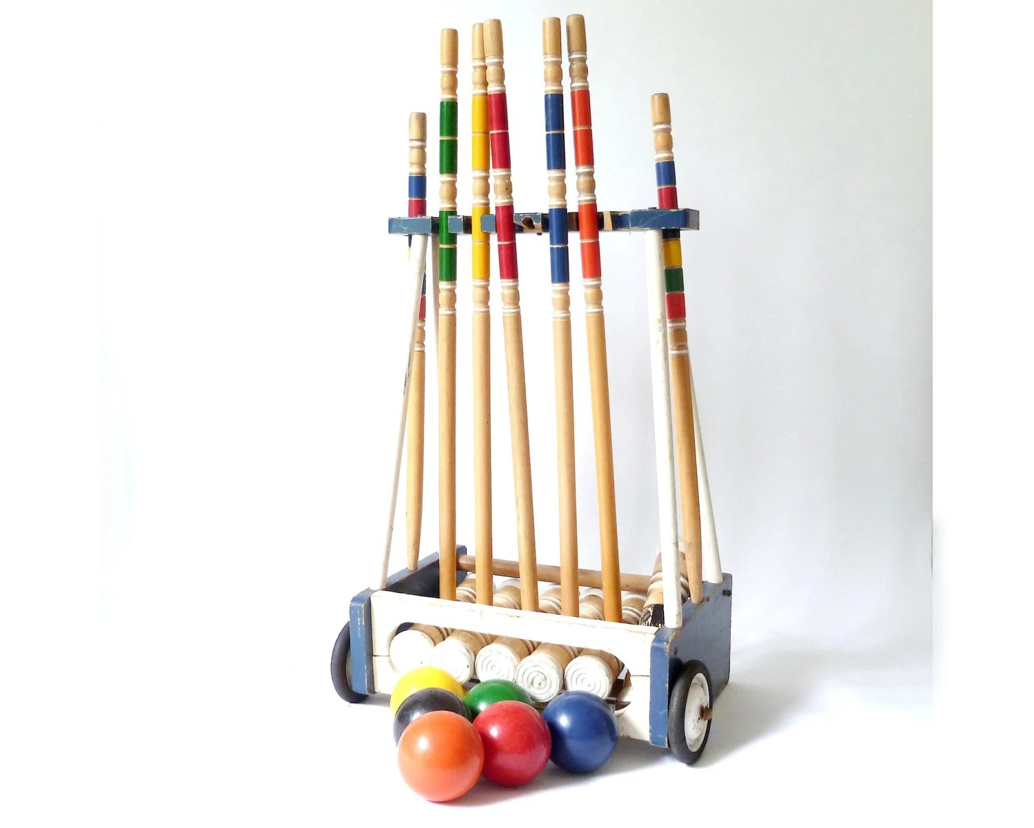 Vintage Croquet Set In Carrier ... Wood Lawn By Cushionchicago