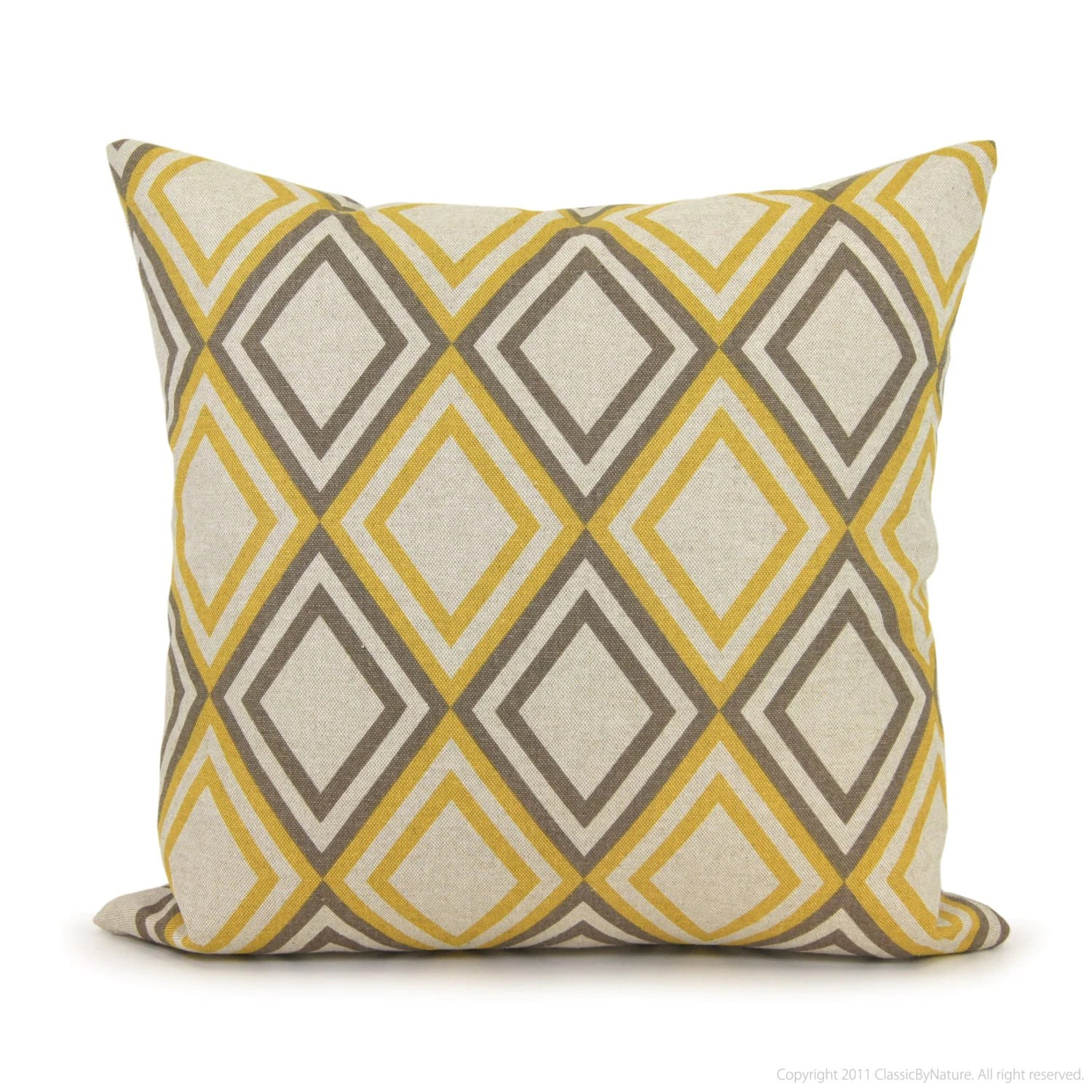 Throw Pillow Covers Jysk : Geometric pillow cover ? 18?18 pillow cover ? Gray and yellow decorative pillow cover ? Modern ...