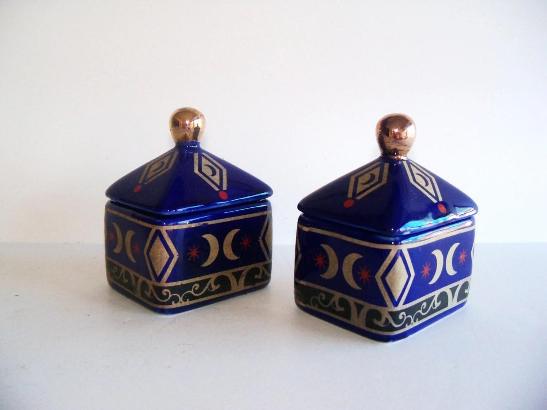 Pair Vintage Cobalt Blue and Gold Hand Painted Porcelain