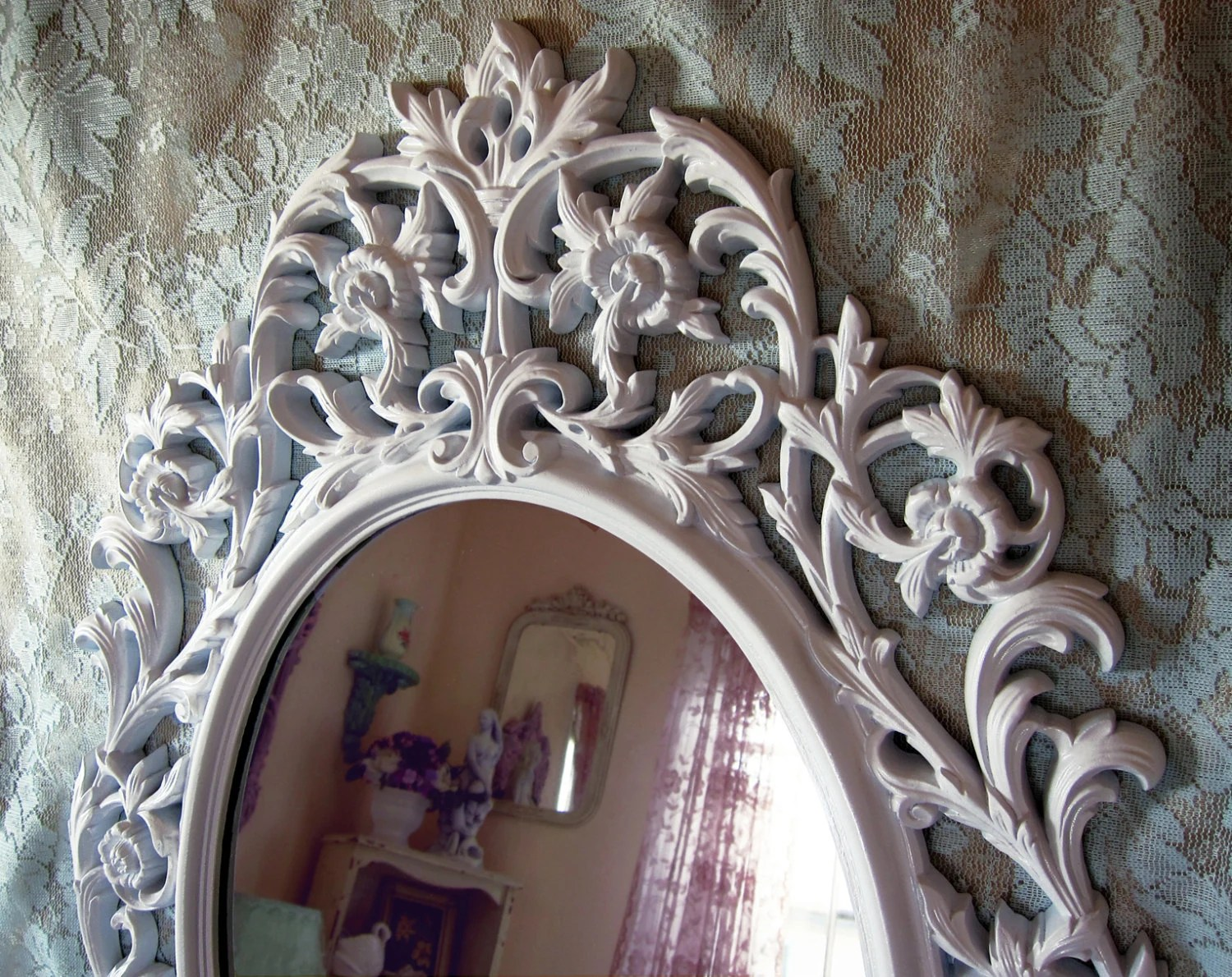 Shabby Chic Vintage White Lacquer Wall Mirror Extra Large