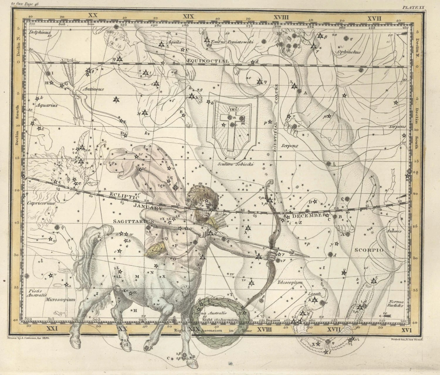 Antique Print Moon Constellation Constellations Of The Of