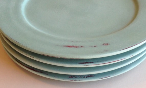 Distressed Wood Plate Chargers In Annie Sloan Duck Egg Blue