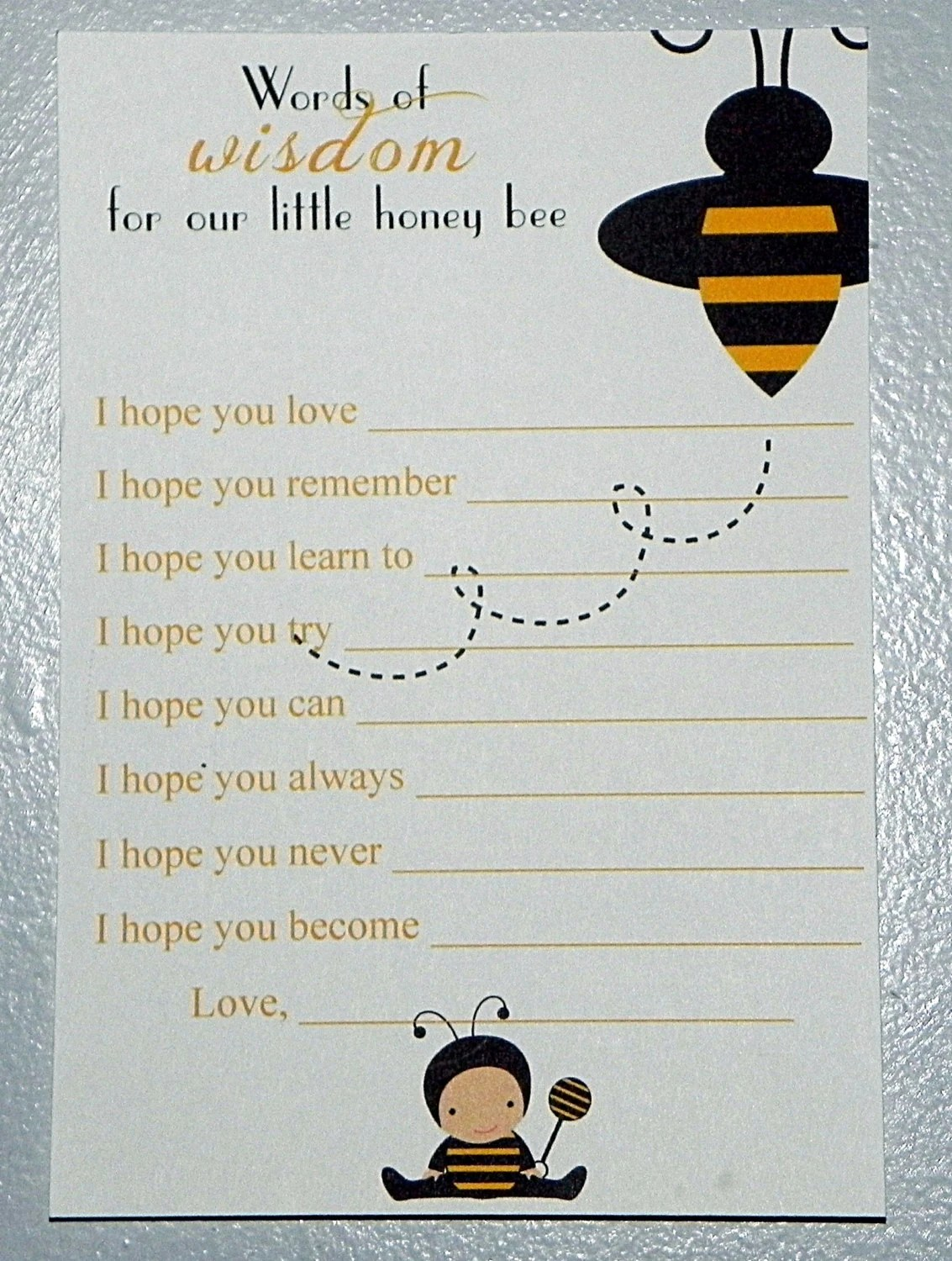 Printable Bumble Bee Baby Shower Wishes And By Mysentimentsinvites
