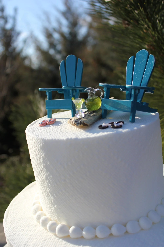Beach Theme Wedding Cake Topper Adirondack Chairs Jimmy