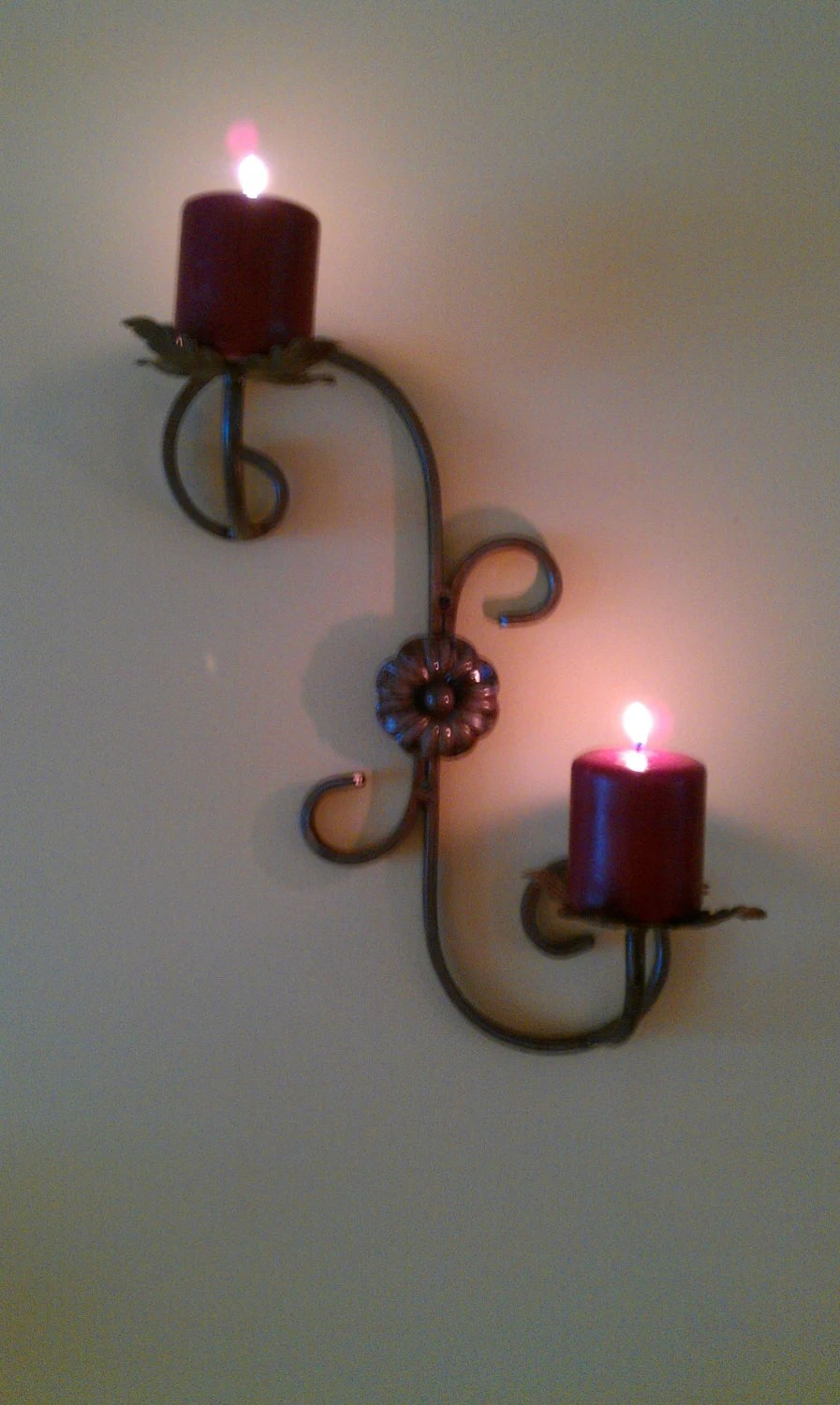 Wrought iron wall mounted candle holder on Wall Mounted Candle Sconce id=67507