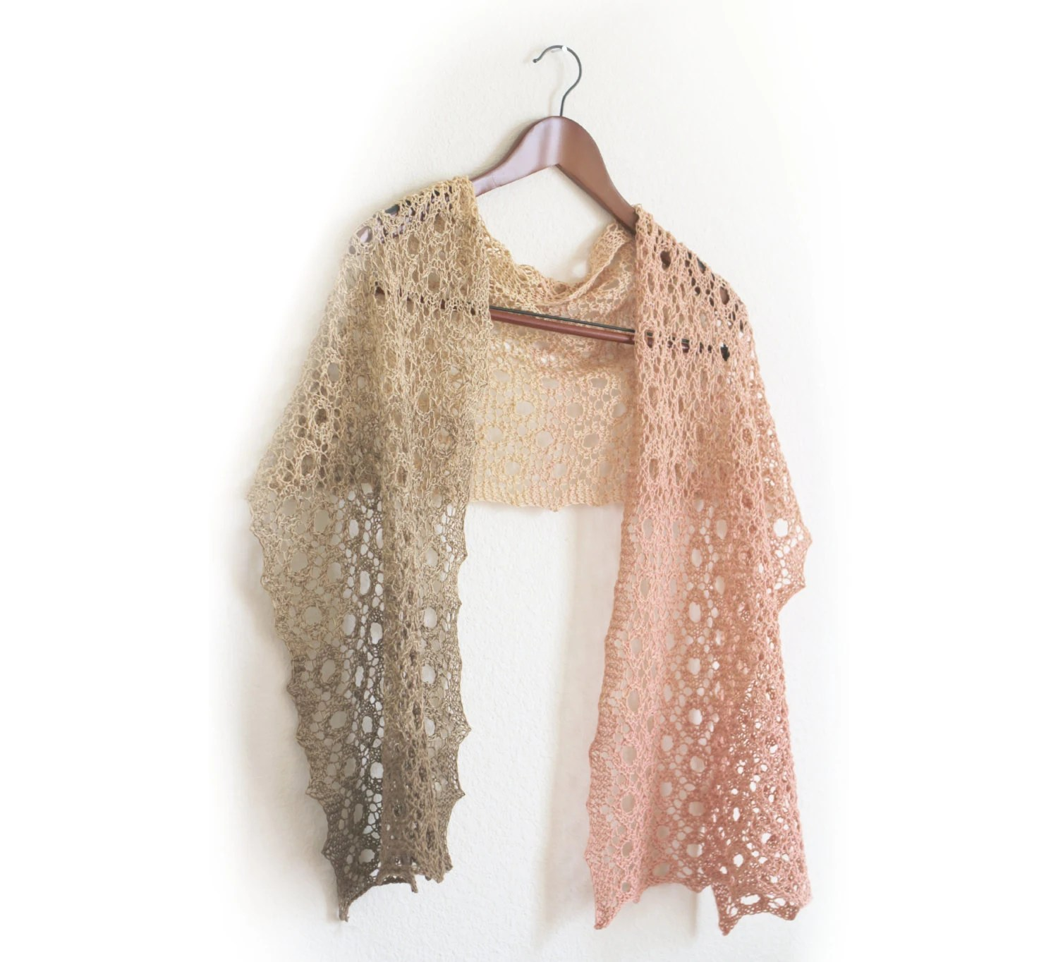 Hand knit shawl scarf gradient cotton ombre pastel - katerynaG