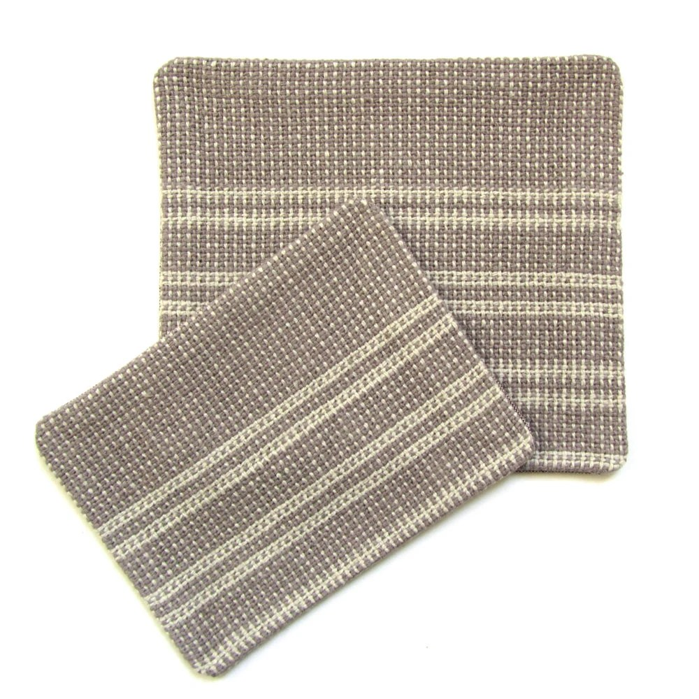 Handwoven Patches - Striped Mushroom Brown and Natural White - Set of Two Patches - VictoriaGertenbach
