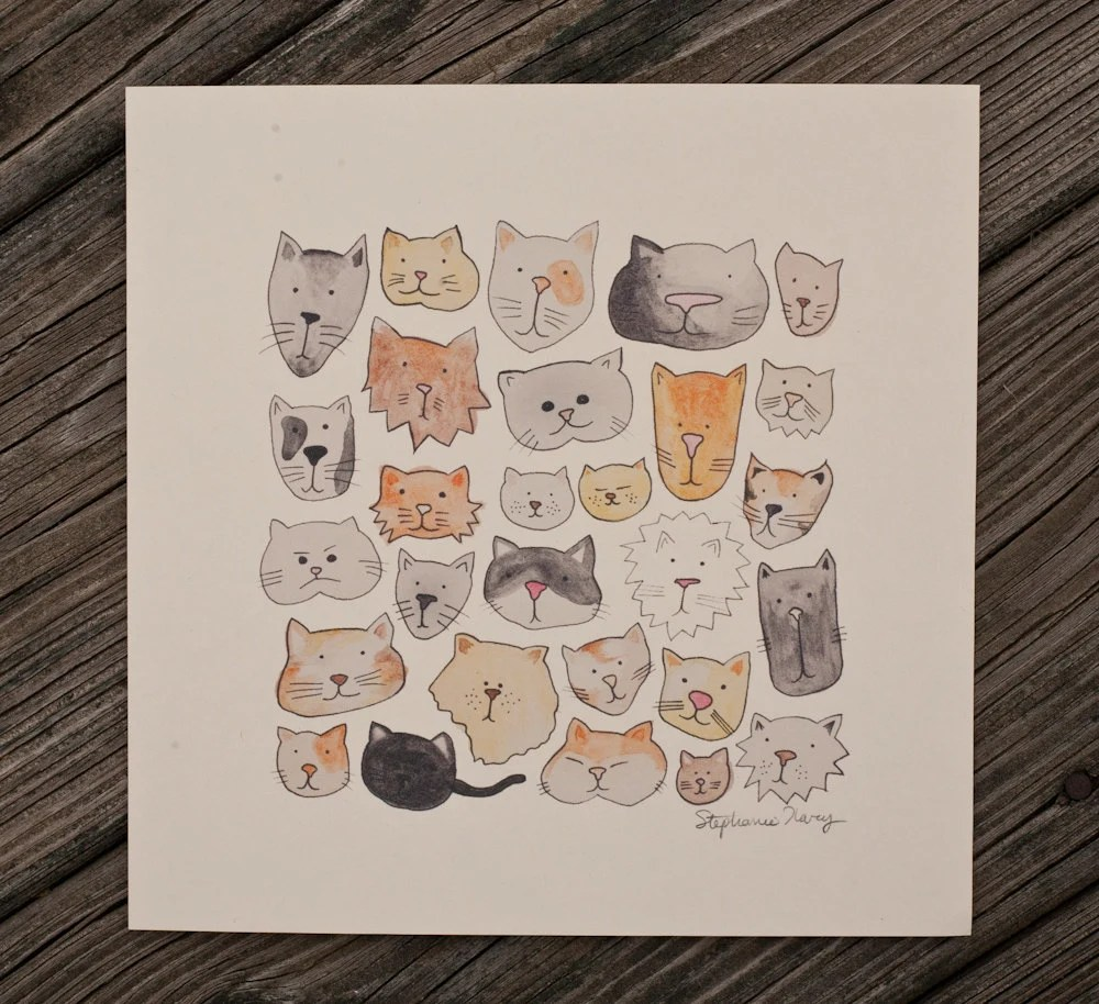cat lover giclee print meow - exit343design