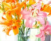 Hot Pink Lily and Orange Daylily   Still Life Photograph,  Lily  Wall Decor,  Floral Art Print - JudyStalus