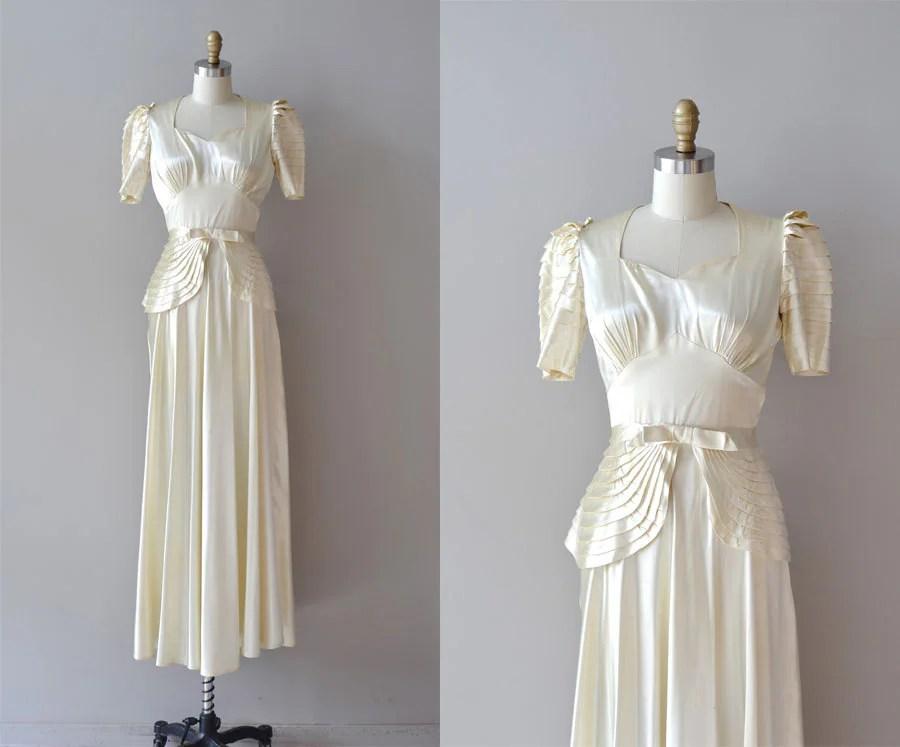1930s Wedding Dress / Silk 30s Wedding Dress / Vivaudou Gown