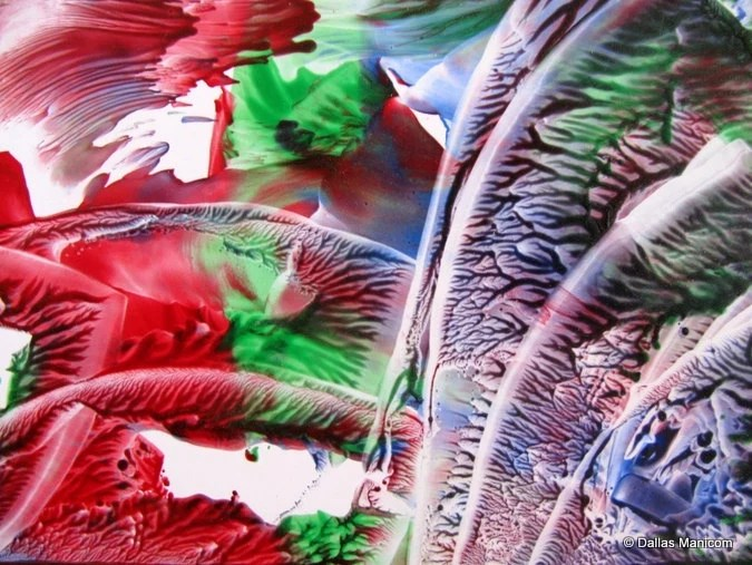 4X6 Gravity Lost. Encaustic (Wax) Original Painting. SFA (Small Format Art). Red. Blue. Green - aboundingtreasures