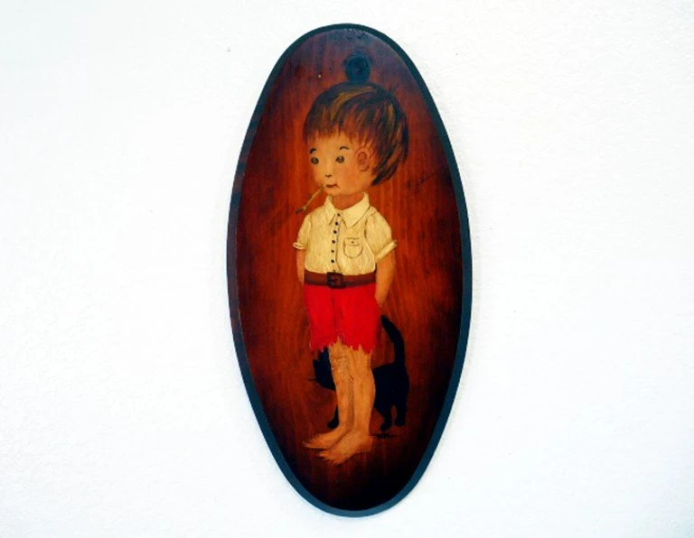 SALE Vintage Oil Painting on Oval Wood Little Boy with Straw and Black Cat by Wilm - KMalinkaVintage